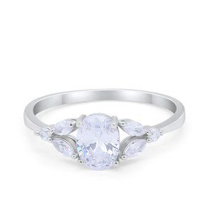 Oval Art Deco Wedding Engagement Ring Marquise CZ
